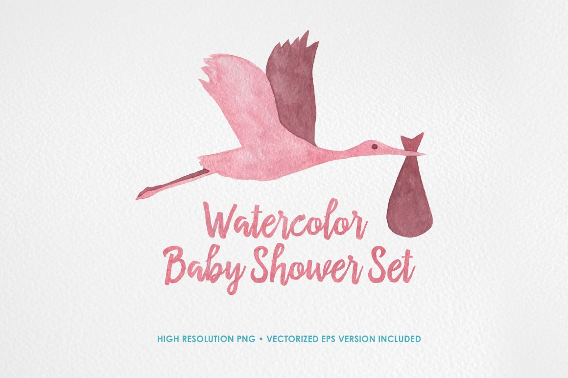 Watercolor Baby Shower Set Illustrations Creative Market