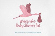 Watercolor Baby Shower Set