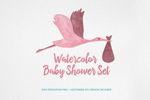 Watercolor Baby Shower Set