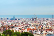 Wide panoramic view of Barcelona