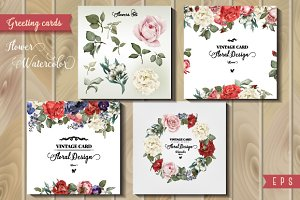 Greeting cards and flowers