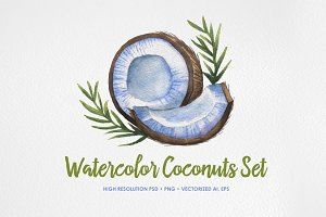 Watercolor Coconuts Set