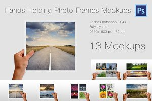 Hands Holding Photo Frames Mockups