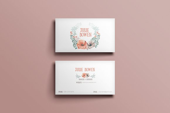 Floral business card template in Business Card Templates