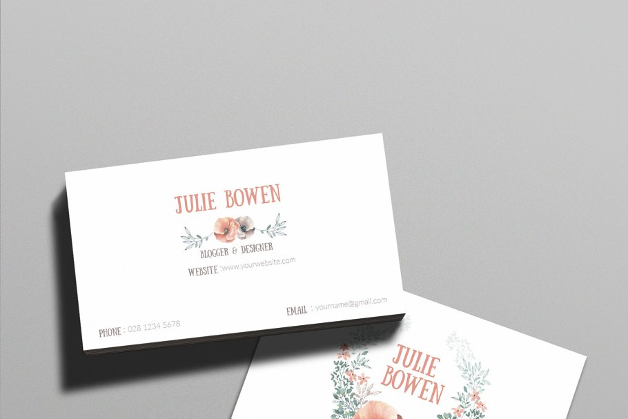 Floral business card template business card templates creative floral business card template business card templates creative market pro wajeb Images