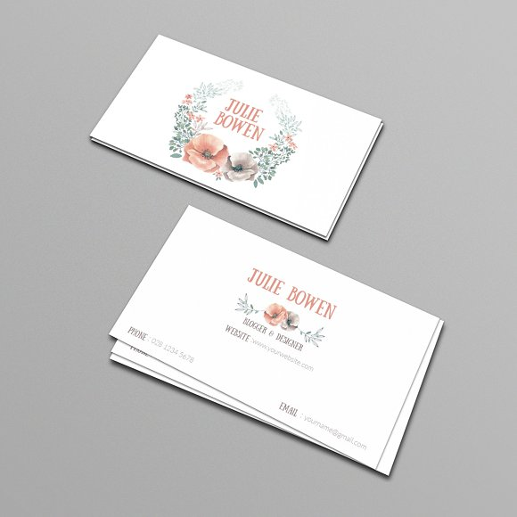 Floral business card template in Business Card Templates - product preview 2