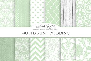 Muted Mint Wedding Digital Paper