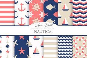 Pink & Navy Nautical Digital Papers