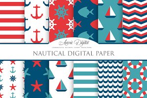 Nautical Digital Paper - Backgrounds