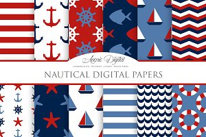 Nautical Digital Paper Patterns