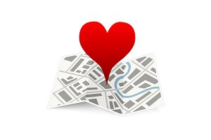 Love pin on map gps location icon