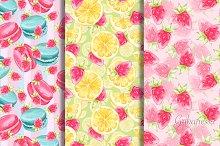 Sweet set 2. Watercolor patterns