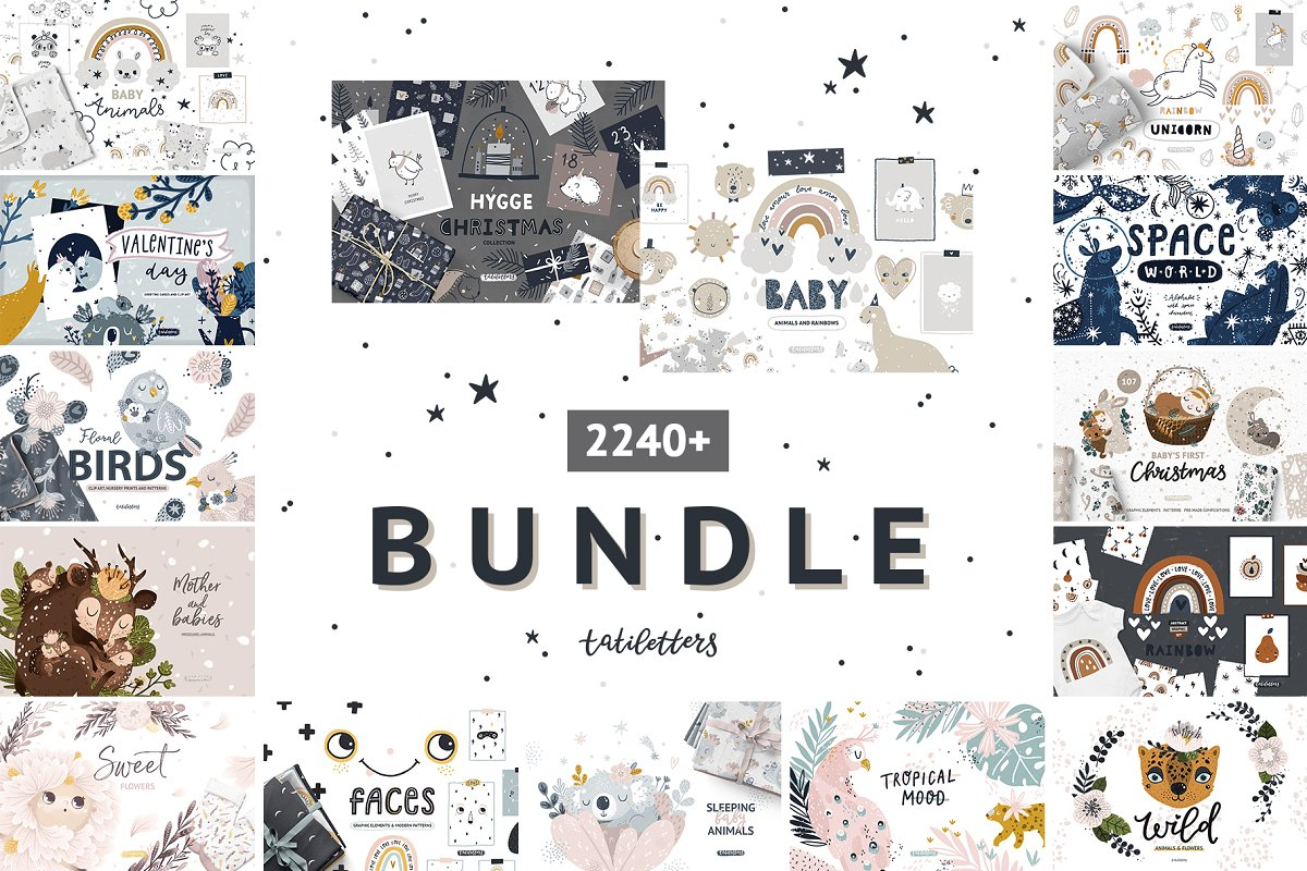 Bundle Baby animal Clipart & Pattern