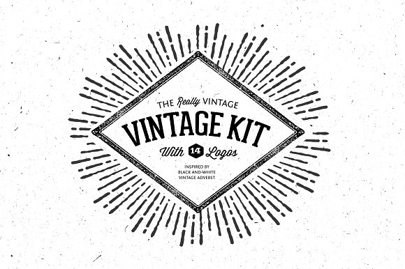 very vintage vector kit 14 logos objects creative market. Black Bedroom Furniture Sets. Home Design Ideas