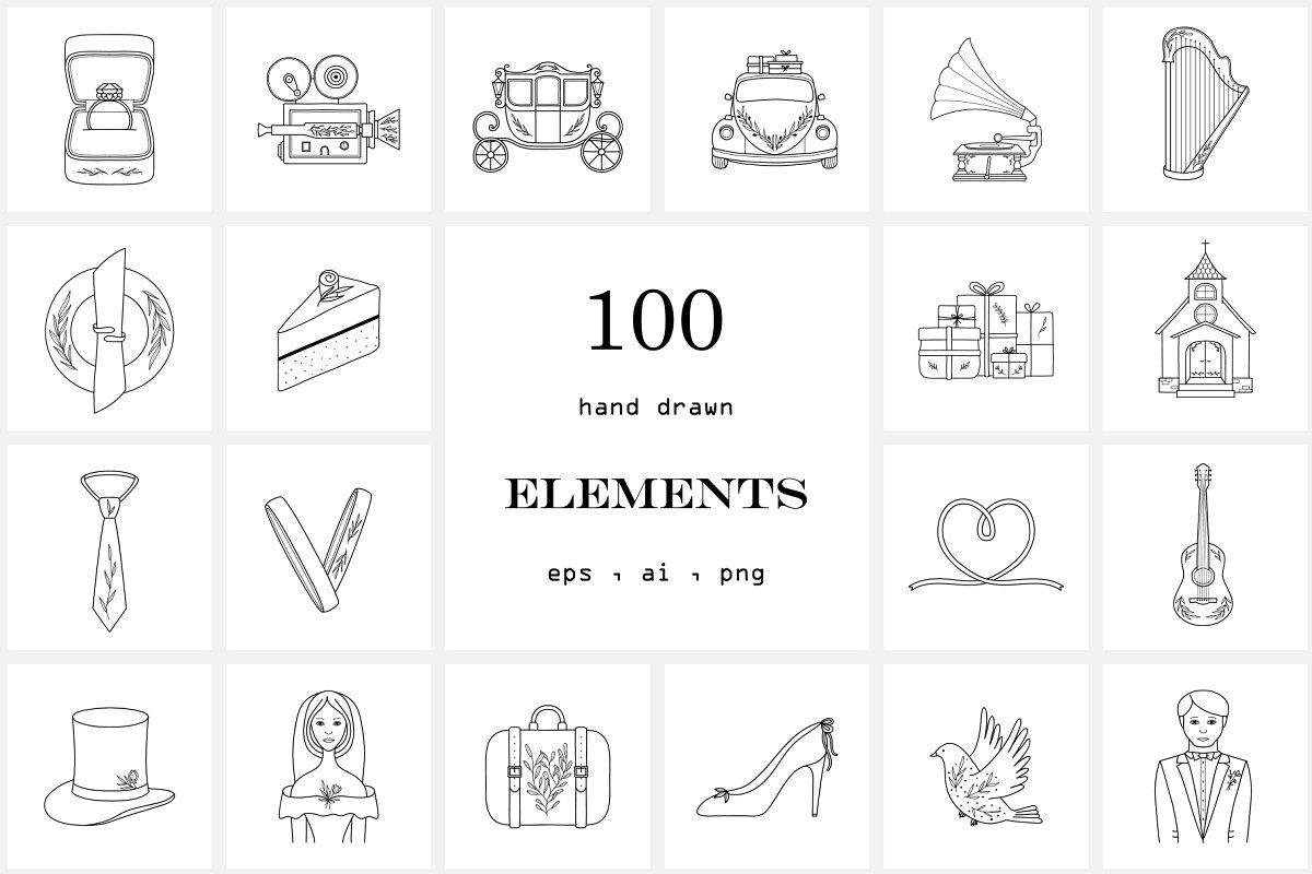 100 Hand Drawn Logo Elements.Wedding