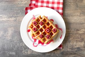 Waffles with raspberries