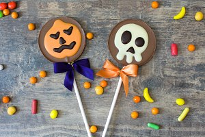 Halloween lollipops and candies