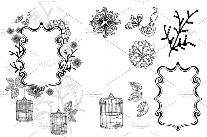Clip Art Package: flower, cage, bird ~ Illustrations