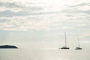 Sailboat moored in the sea