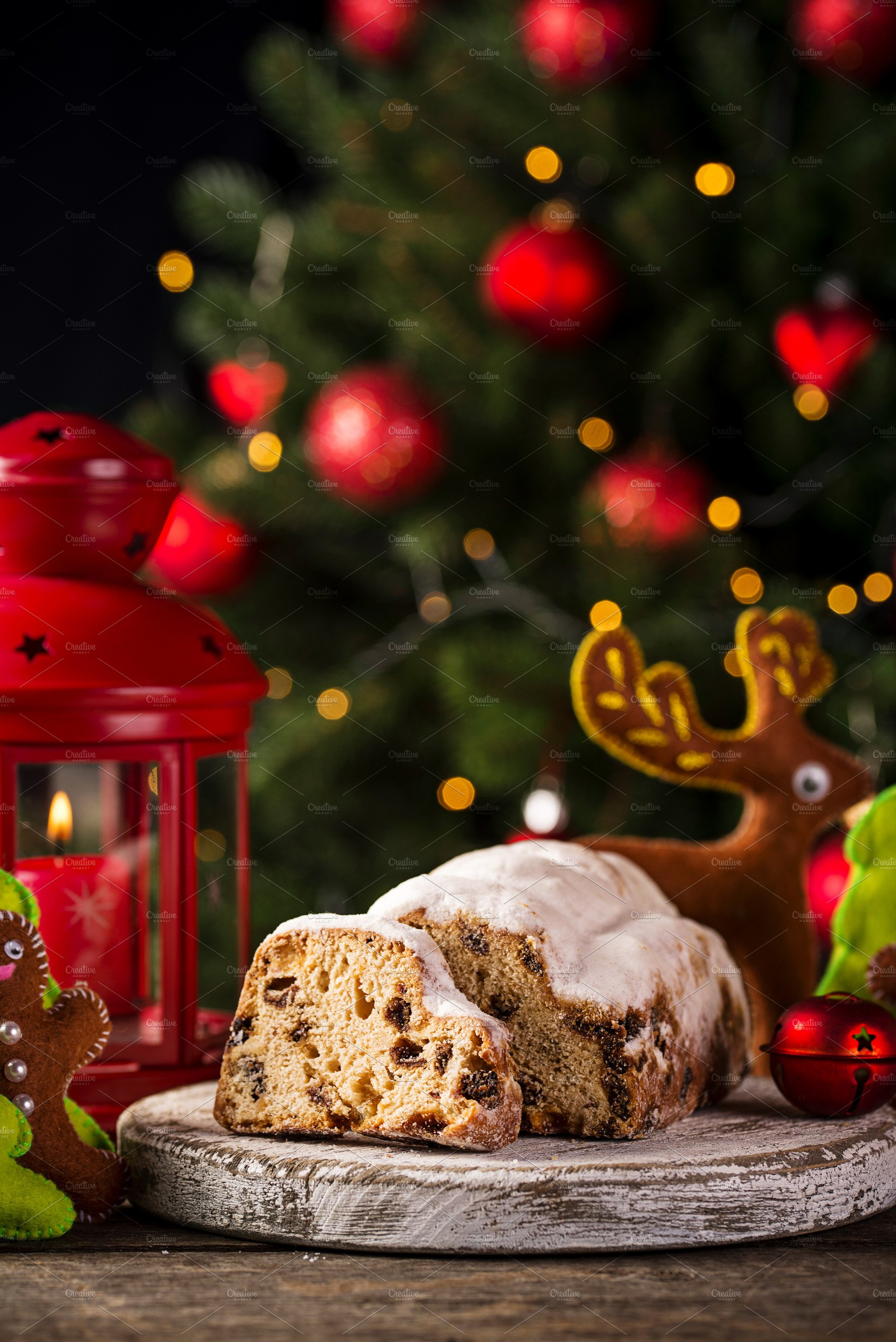 Christmas cake stollen with dried