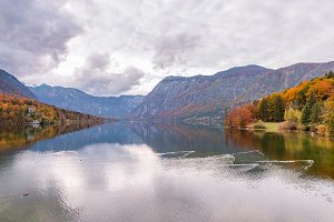 Autumn fairytale at lake Bohinj