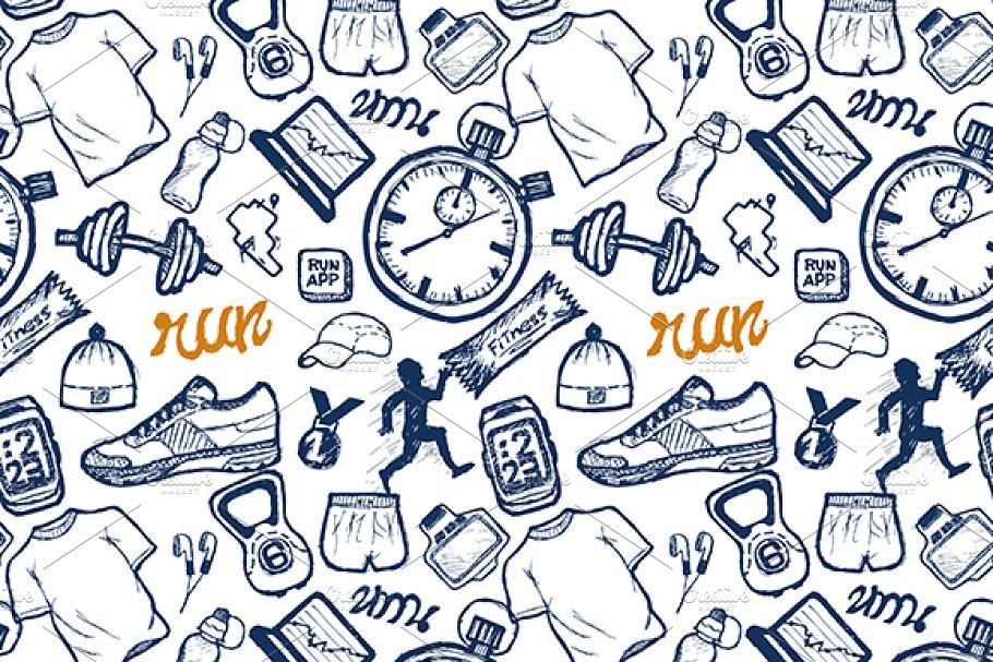 Run icons seamless pattern/hand draw
