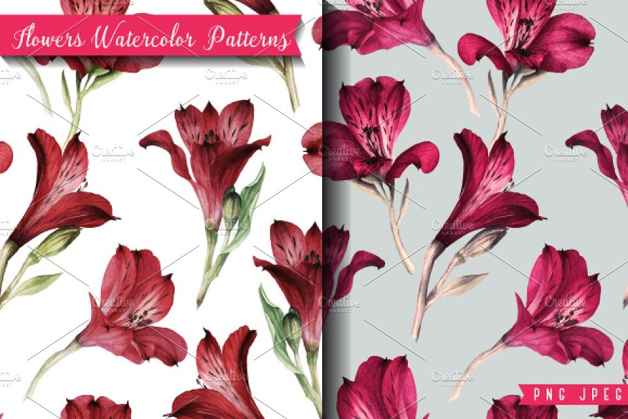 Seamless pattern with rose flowers ~ Graphic Patterns ~ Creative Market