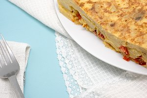 Close up of spanish omelette