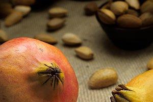Autumn composition of pomegranates