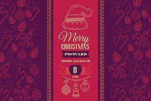 8 Christmas postcards