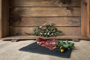 Ham on wooden board