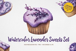 Watercolor Lavender Sweets + bonus