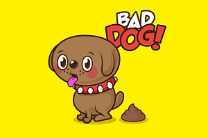 Funny Cartoon Dog Illustration
