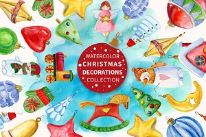 Watercolor Christmas decorations set