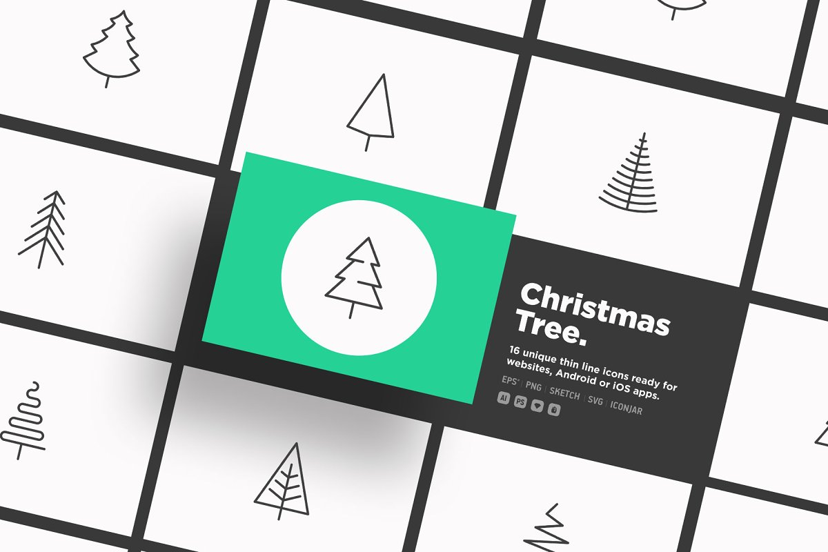 Christmas Tree | 16 Thin Line Icons
