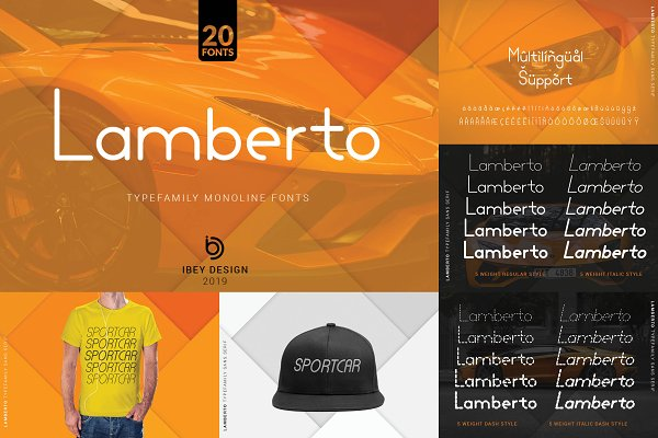 Best Lamberto Light Dash - Monoline Font Vector