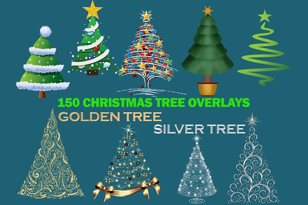 Christmas Tree, gold, silver, white