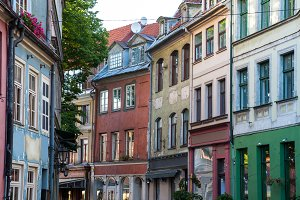 Houses on street in Riga, Latvia