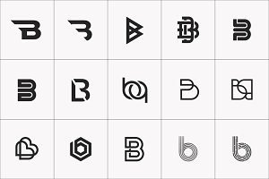 B Letter Logo Bundle Monogram Set