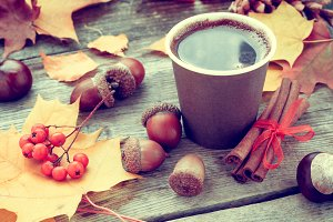 Coffee cup and autumn still life