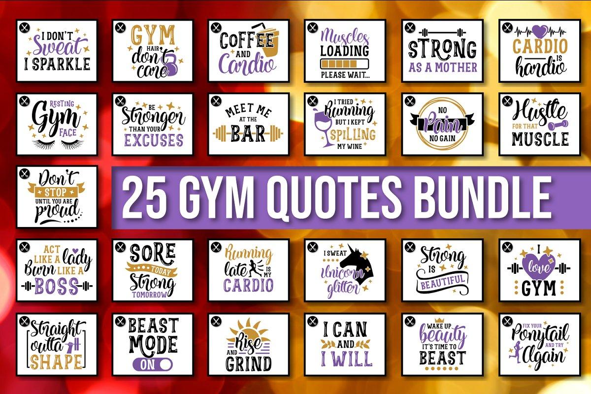 Gym Quotes SVG Bundle Motivational ~ Illustrations ...