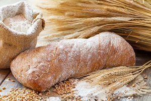 Bread, sack of flour and wheat ears