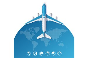 Airplane Travel Concept. Vector