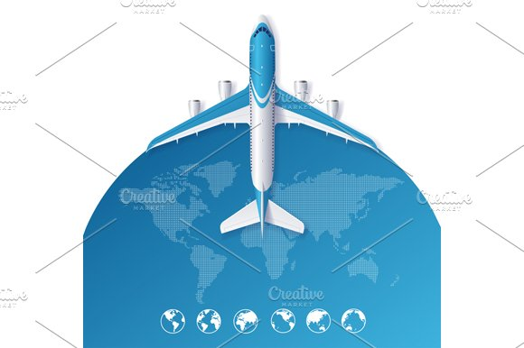 Airplane Travel Concept. Vector - Illustrations