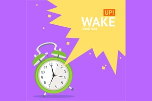 Wake Up Clock Concept Card. Vector