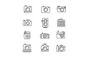 Vintage Photo Camera Icon Set