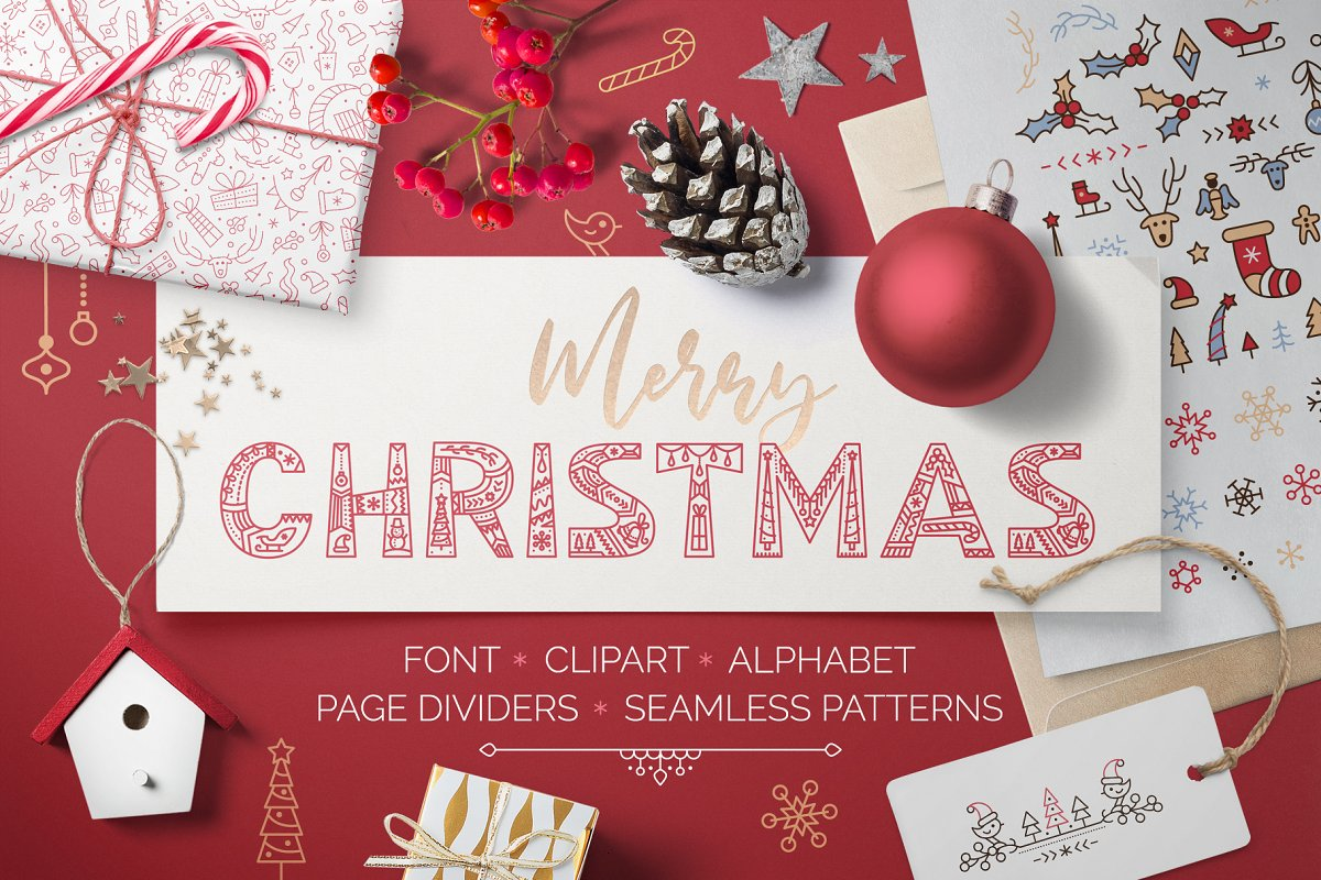 CHRISTMAS font ❆ clipart ❆ patterns