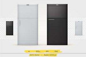 Black and white refrigerator vector