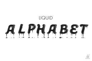 Black liquid alphabet