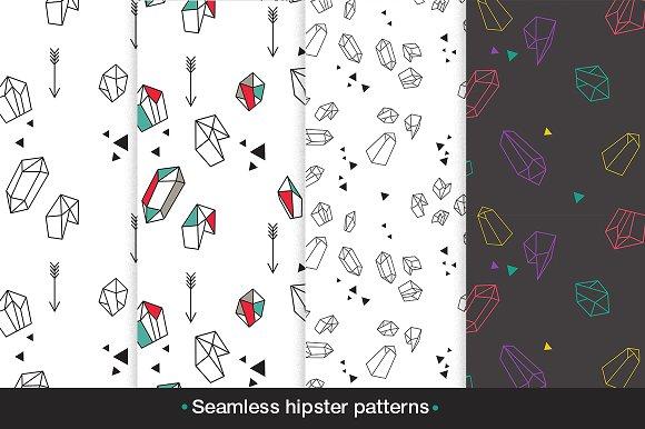 Seamless hipster patterns set